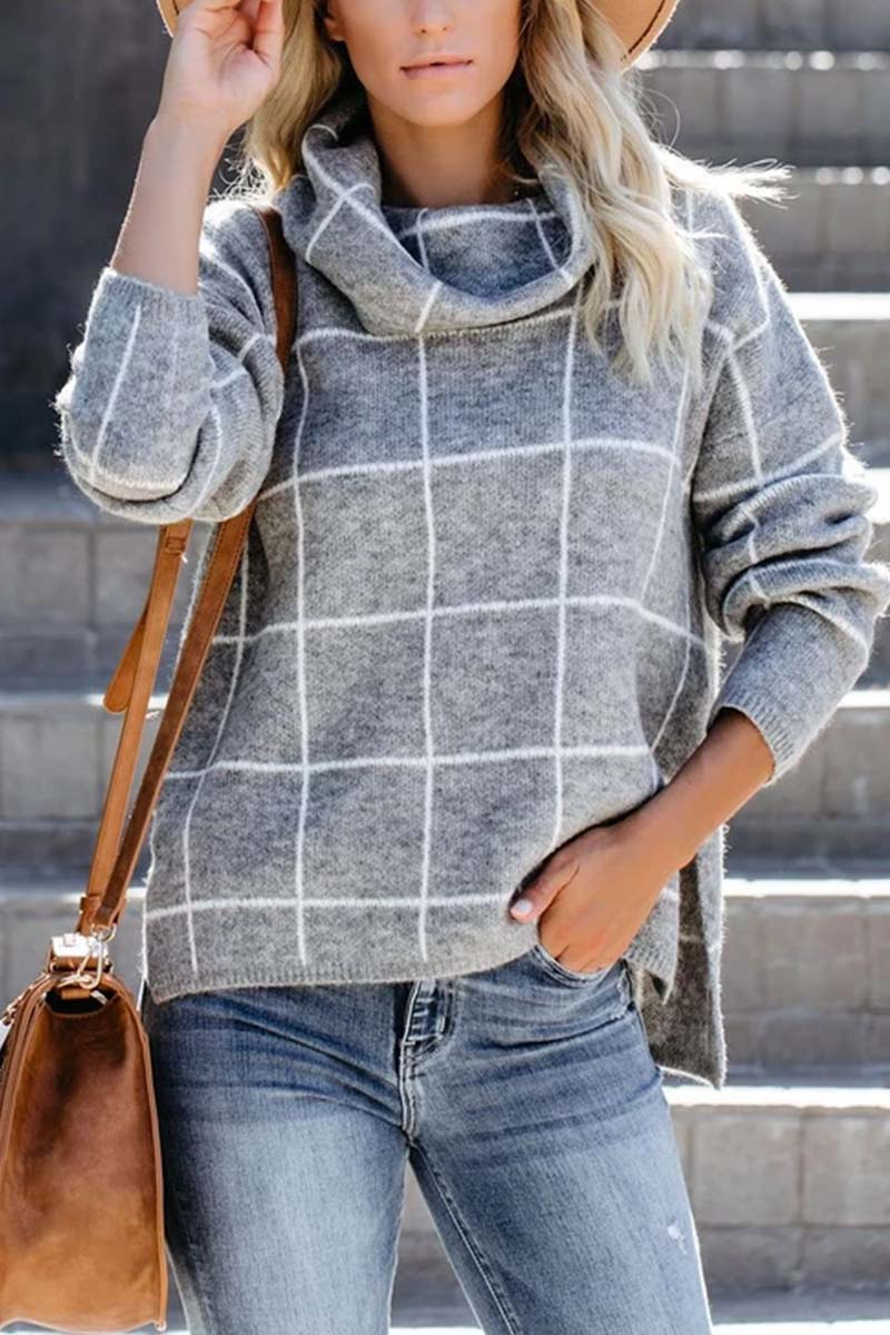Lopolly Turtleneck Plaid Sweater