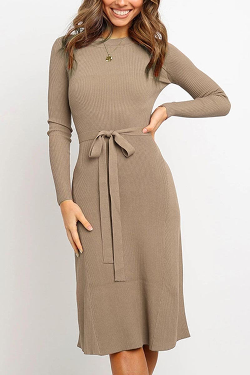 Lopolly Lace-up Solid Autumn Dress