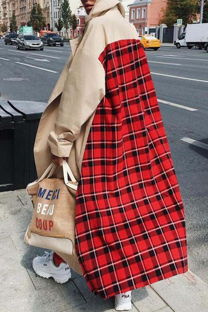 Lopolly  Loose Khaki Red Plaid Windbreaker Coat