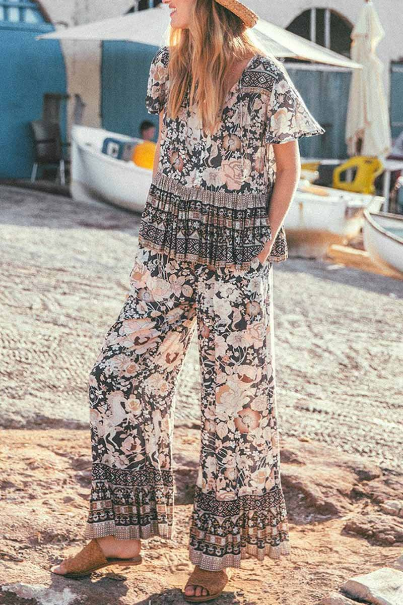 Lopolly Bohemian V-neck Loose Two-Pieces Set