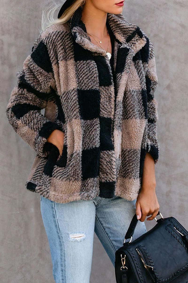 Lopolly Plush Plaid Lapel Top Jacket