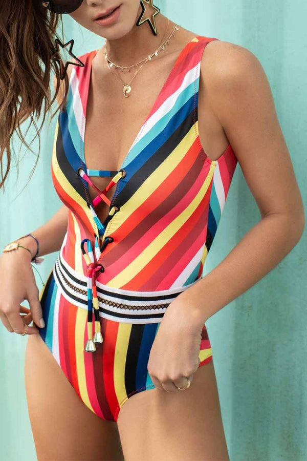 Lopolly Striped High Waist Triangle Swimsuit