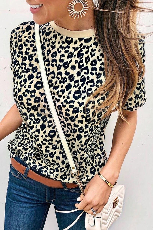 Lopolly Short Sleeve Leopard Print Basic T-shirt
