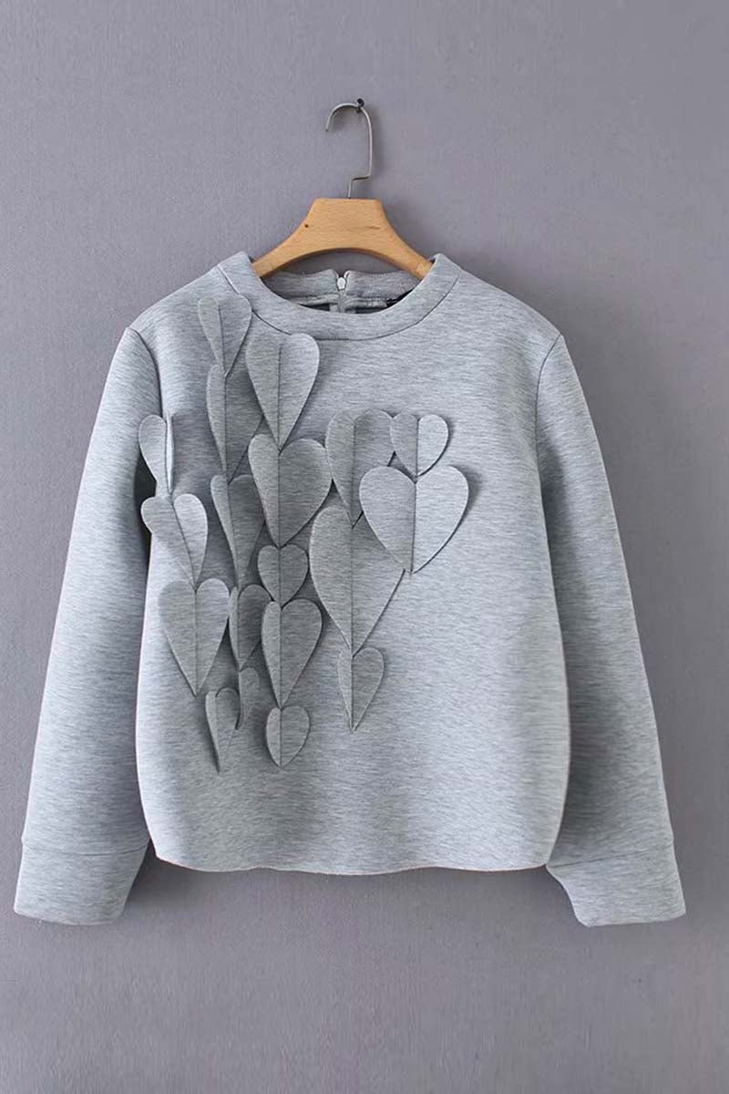 Lopolly Heart Decoration Zipper Long Sleeve Hoodie Tops