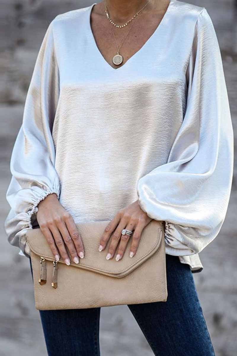 Lopolly V-Neck Tops With Puff Sleeves