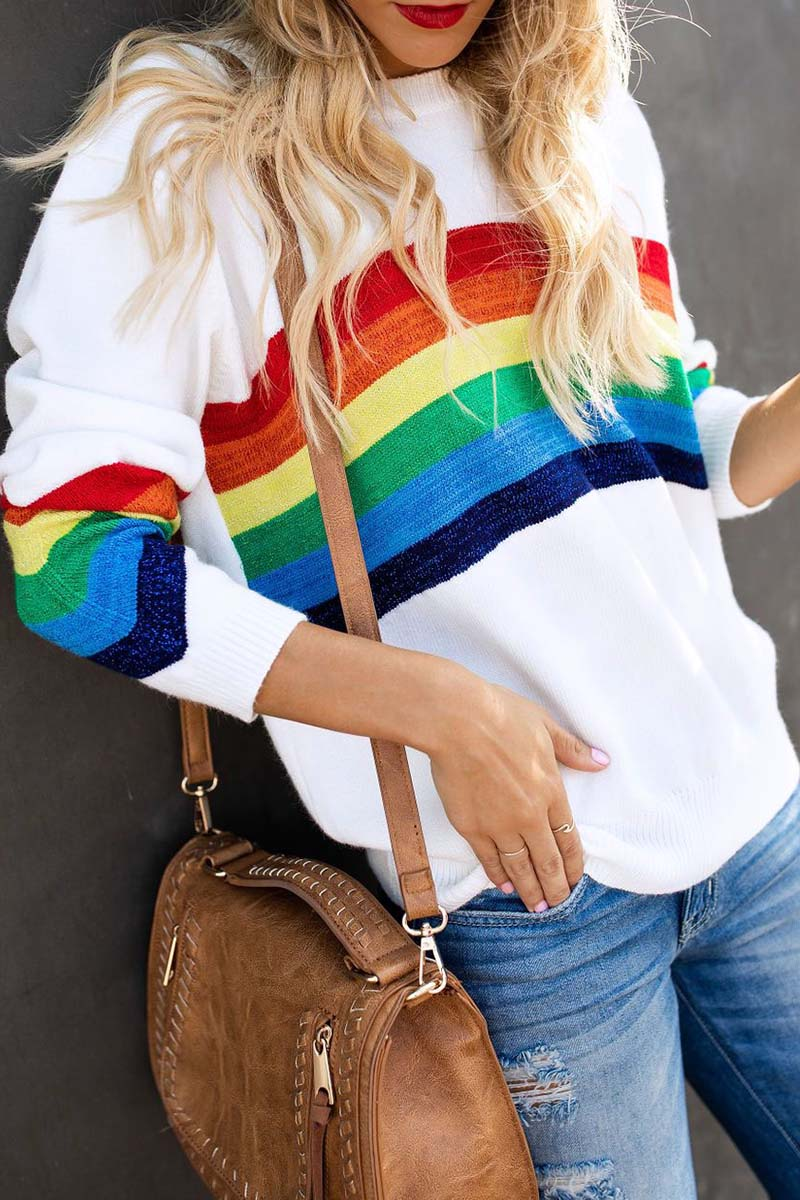 Lopolly Rainbow Design White Sweater