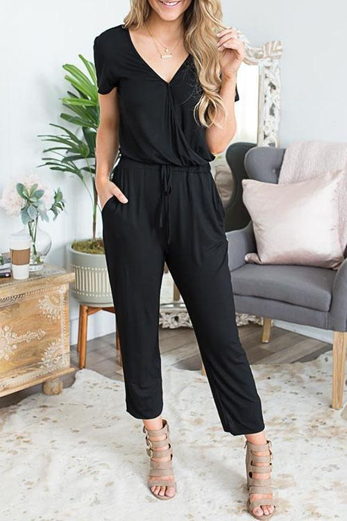 Motachic Casual V Neck Solid Jumpsuit