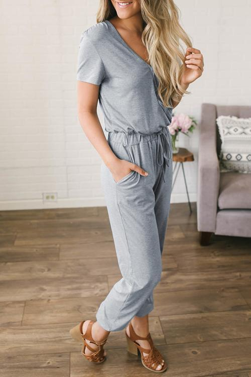 lopolly Casual V Neck Solid Jumpsuit
