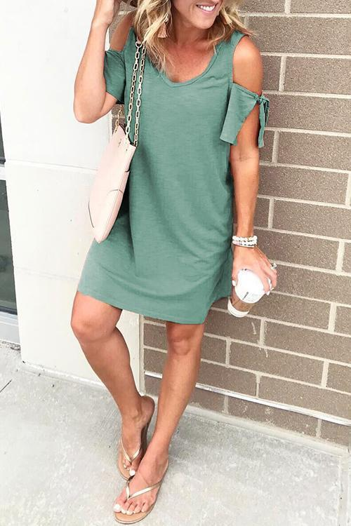 Lopolly Dew Shoulder Round Neck Mini Dress (4 Colors)