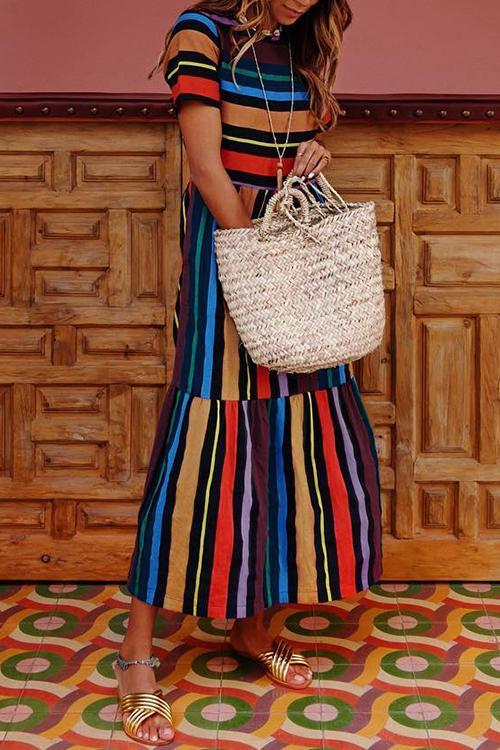 Lopolly Bohemian Striped Multicolor Ankle Length Dress