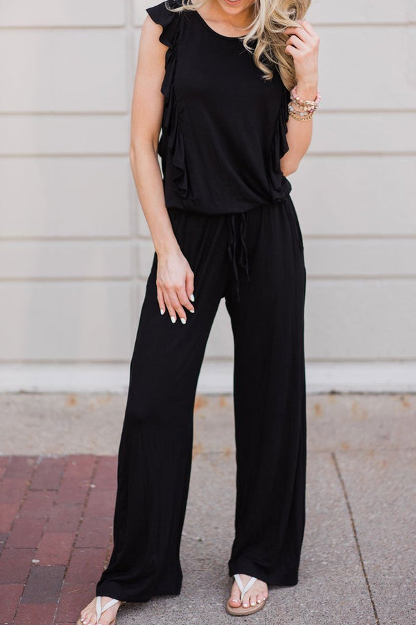 Motachic Ruffle Design Black Casual Jumpsuit