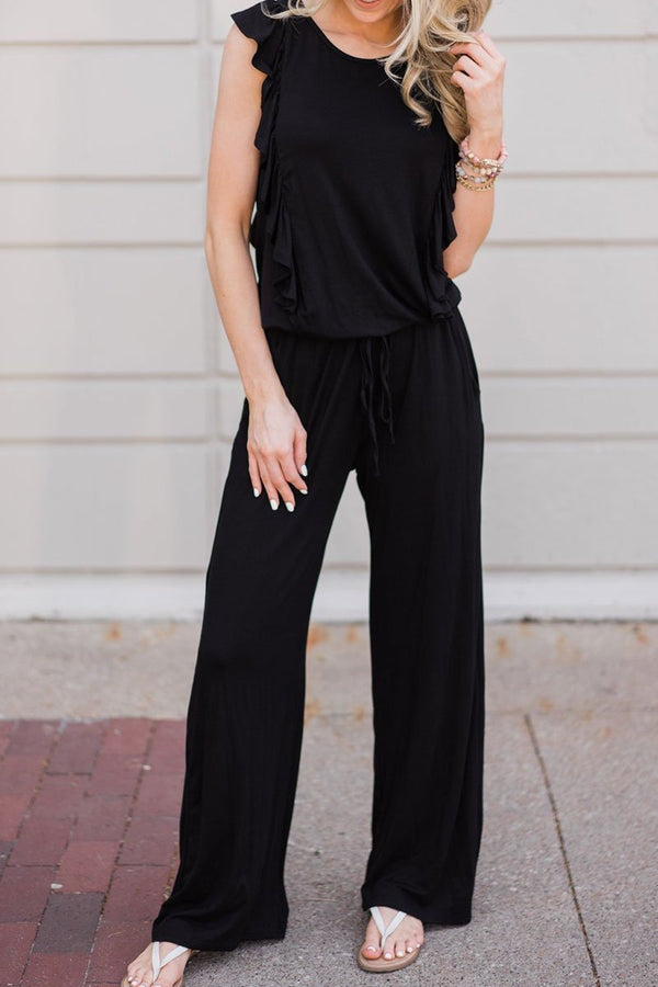Lopolly Ruffle Design Black Casual Jumpsuit