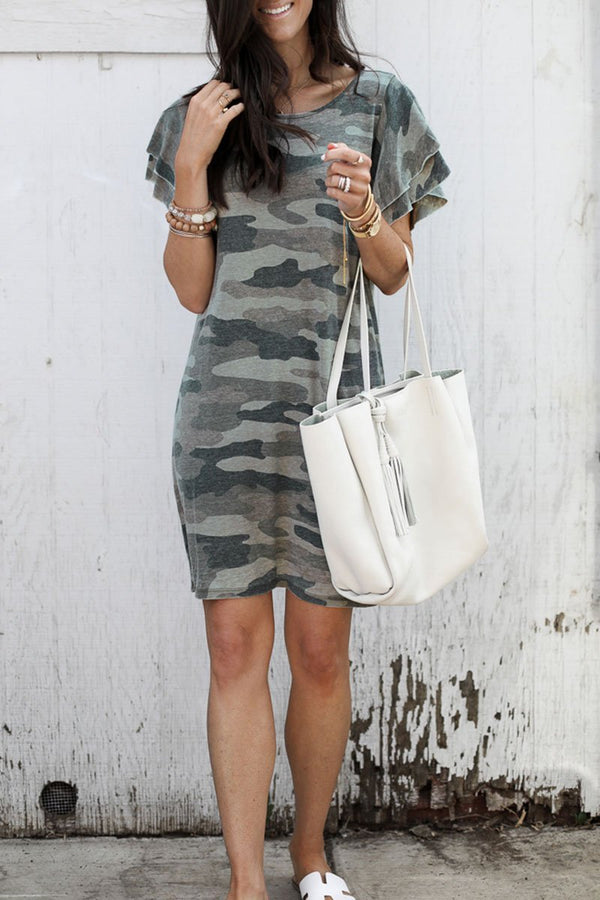 Lopolly Camouflage Army Green Ruffle Sleeves Dress