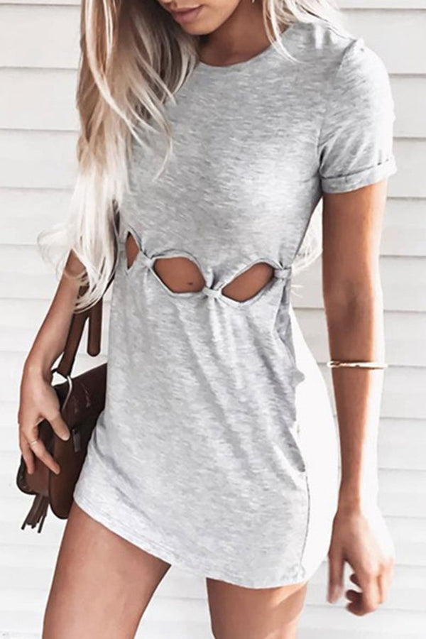 Lopolly Hollowed-out Grey Dress