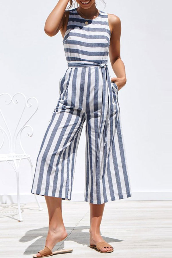 Motachic Striped Lace-up Jumpsuit