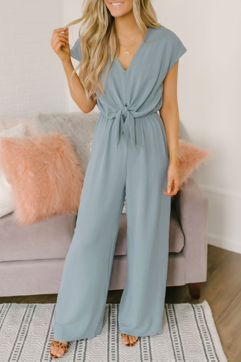 Motachic V Neck Loose Jumpsuit(3 colors)