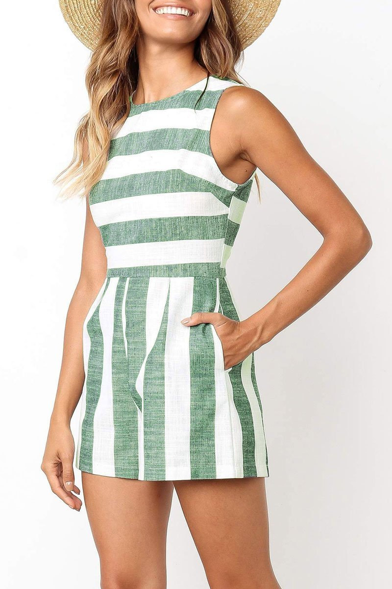 Motachic Casual Striped Straight Romper(4 Colors)