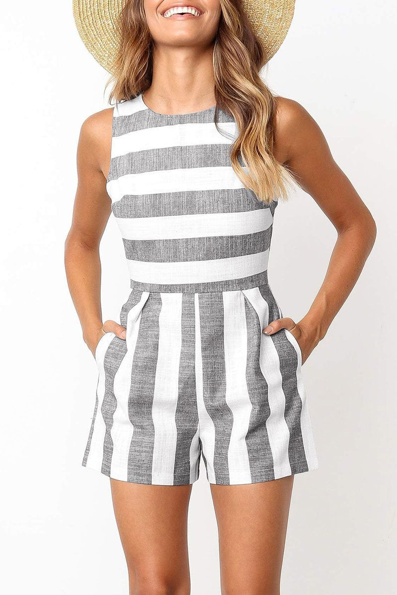 Lopolly Casual Striped Straight Romper(4 Colors)