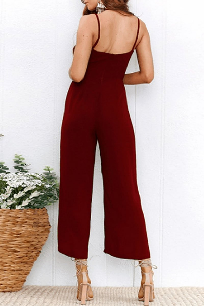 Lopolly Fashion Spaghetti Strap Sleeveless Jumpsuits(2 Colors)