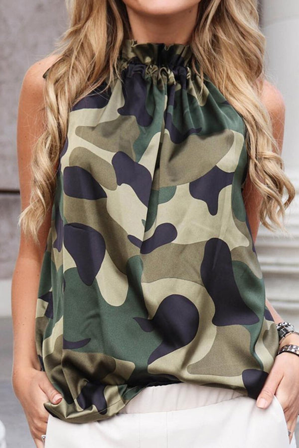 Lopolly Casual Camouflage Printed Tank Top