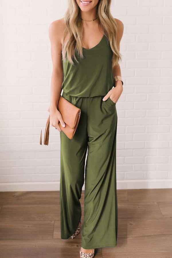 Motachic V Neck Causal Loose Jumpsuit(2 Colors)