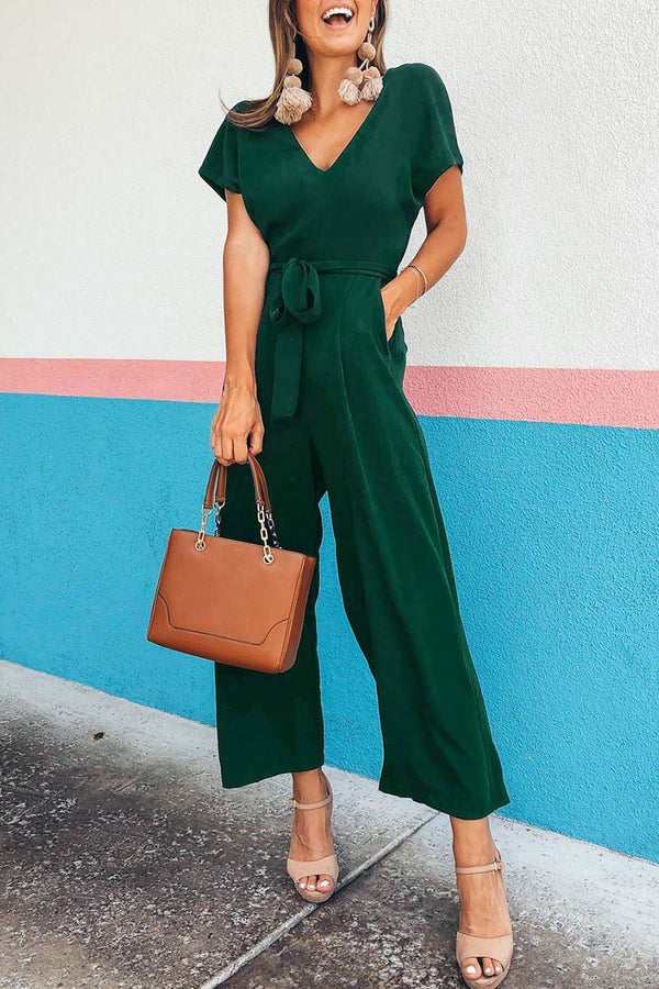 Motachic V Neck Lace-up Jumpsuit
