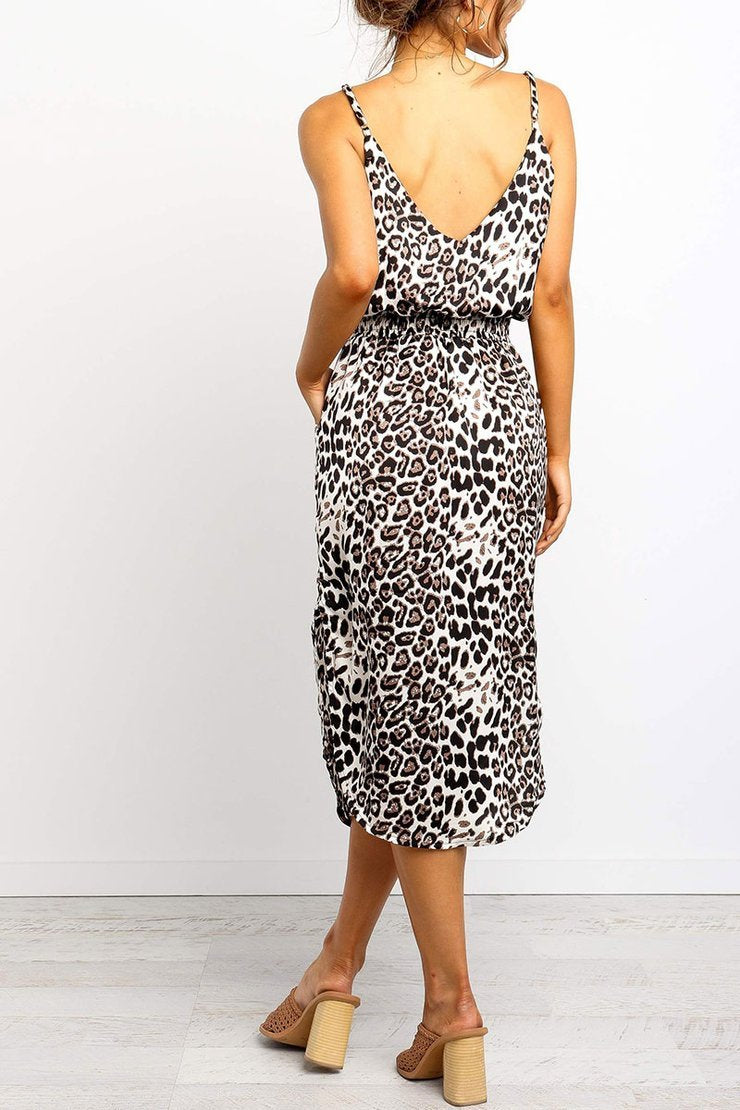 Lopolly Leopard Slit Midi Dresses With Pocket(2 Colors)