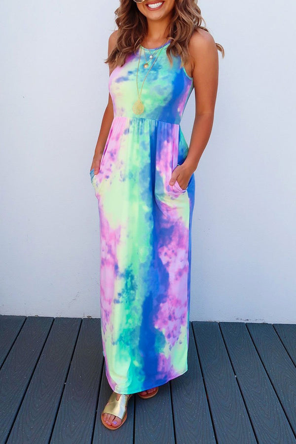 Lopolly Tie-dye Printed Multicolor Maxi Dress