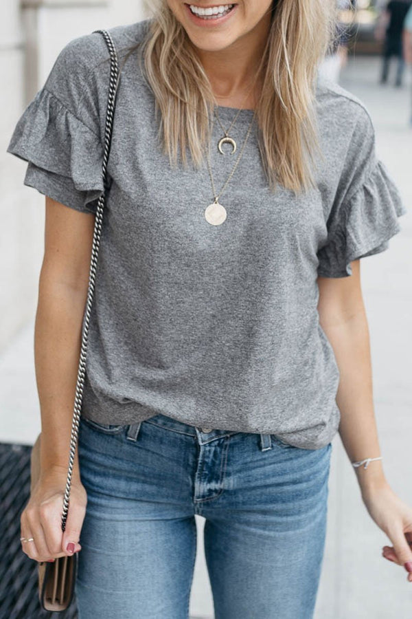 Lopolly Casual O Neck Ruffle Design T-shirt