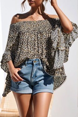 Lopolly Off The Shoulder Leopard Printed Blouse