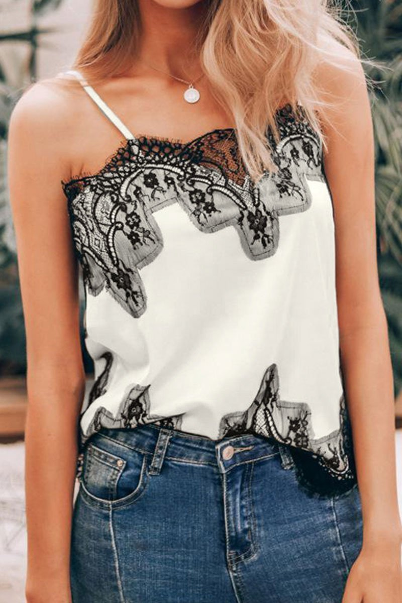 Lopolly Lace Trim Patchwork Tank Top