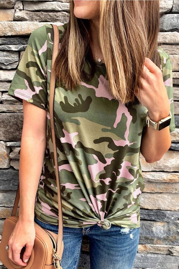 Lopolly O Neck Camouflage Printed T-shirt