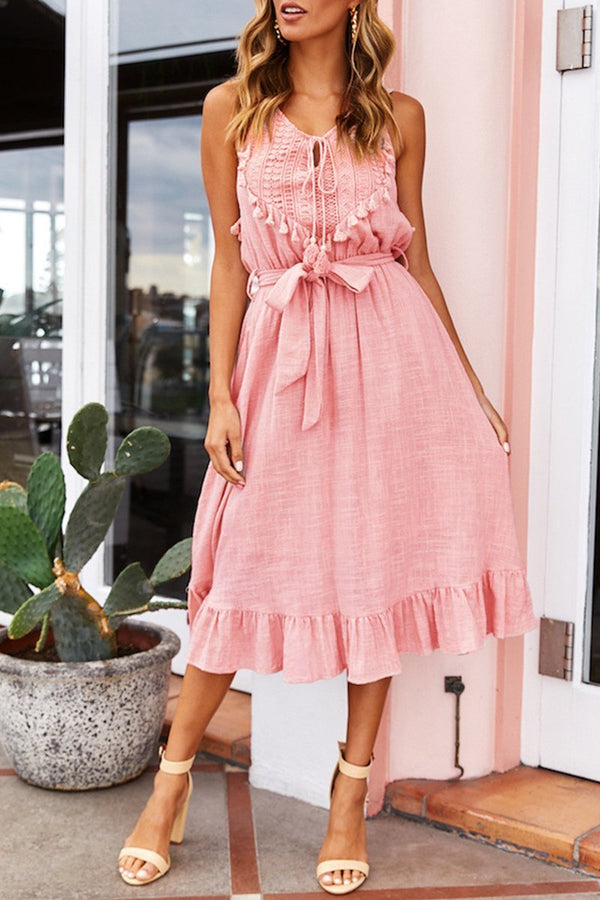 Lopolly Fashion Tassel Lace-up Midi Dress