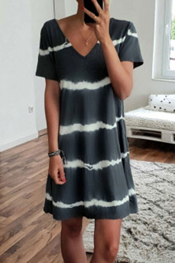 Lopolly V Neck Striped Printed Knee Length A Line Dress
