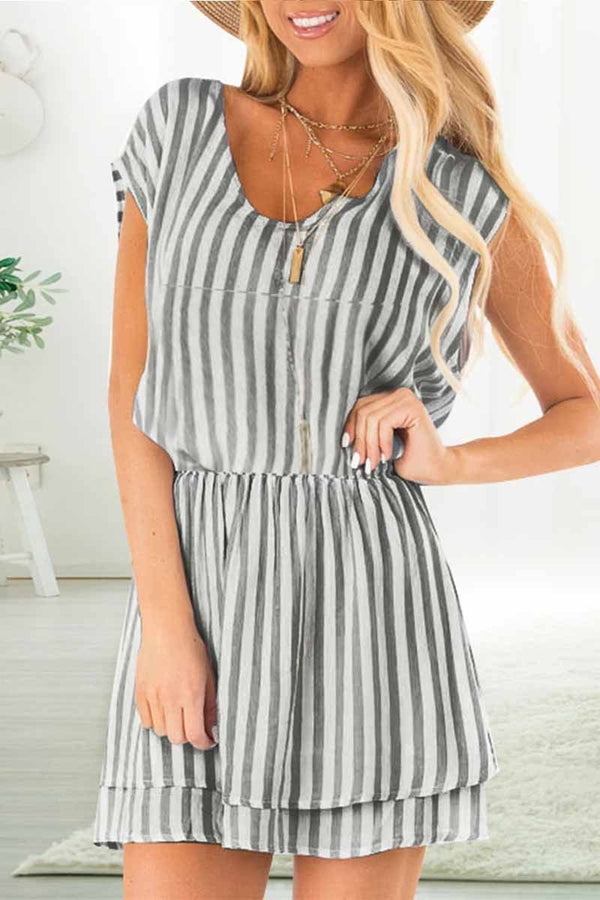 Lopolly Casual V Neck Striped Waist Design Mini Dress