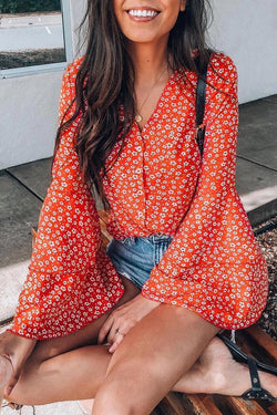 Lopolly V Neck Floral Printed Flared Sleeve Blouse
