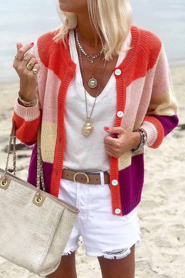Lopolly Color-lump Patchwork Cardigans