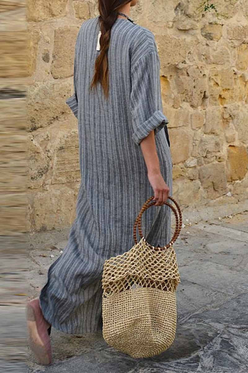 Lopolly Bohemian V Neck Striped Ankle Length Dress