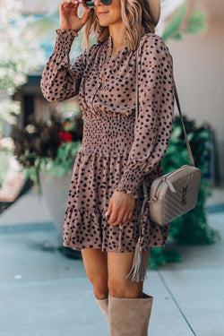 Lopolly Solid Color Spotted Dress with Belt