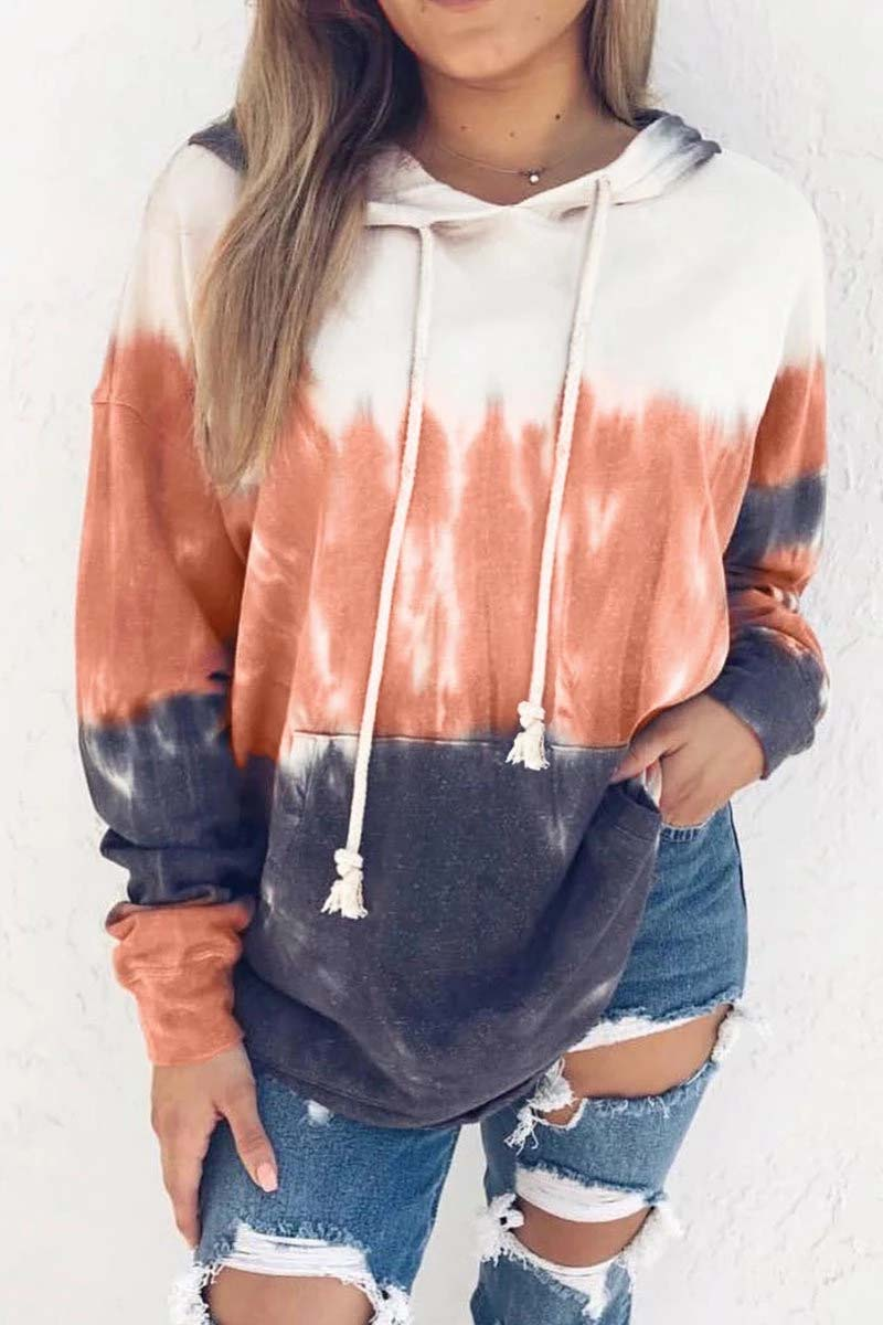 Lopolly Hooded Collar Tied Dyed Print Hoodie (3 Colors)
