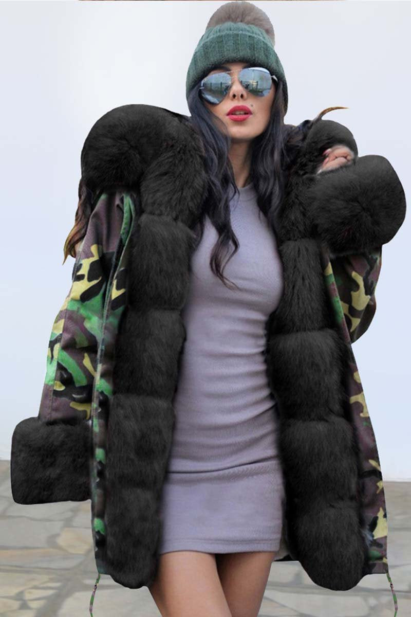 Lopolly Camouflage Plush Fur Collar Warm Coat Jacket