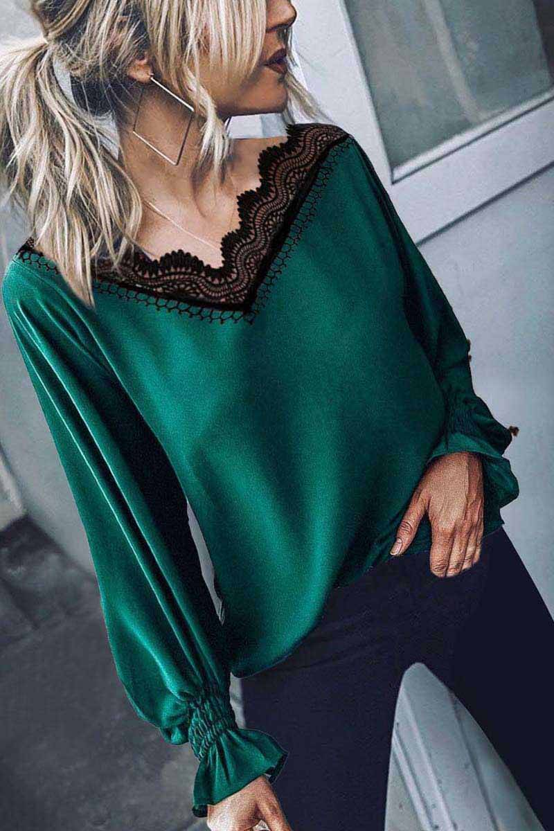 Lopolly Lace V-Neck Long Sleeve Tops