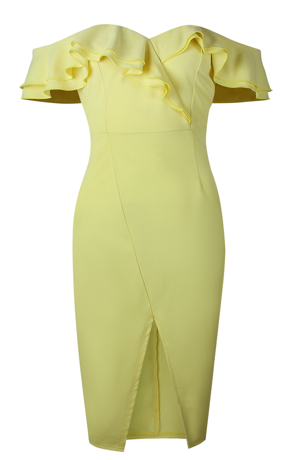 Lopolly Chic Party Double Ruffle Design Yellow Dress