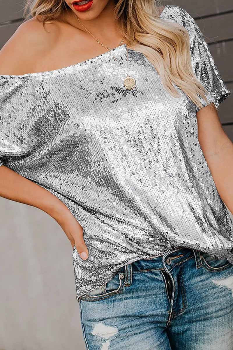 Lopolly Dew Shoulder Sequin Silver Blouse