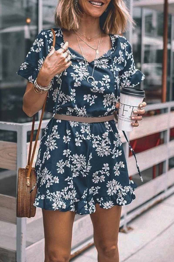 Motachic Floral Printed Romper(Without Belt)
