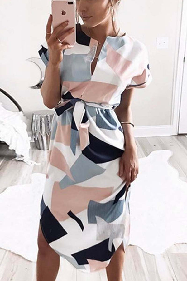 Lopolly Trendy Printed Asymmetrical Midi Dress