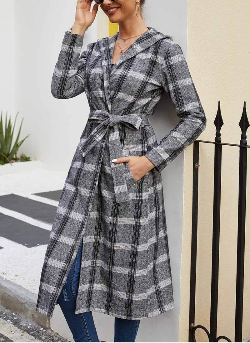 Lopolly Winter Women's Plaid Coat With Hat