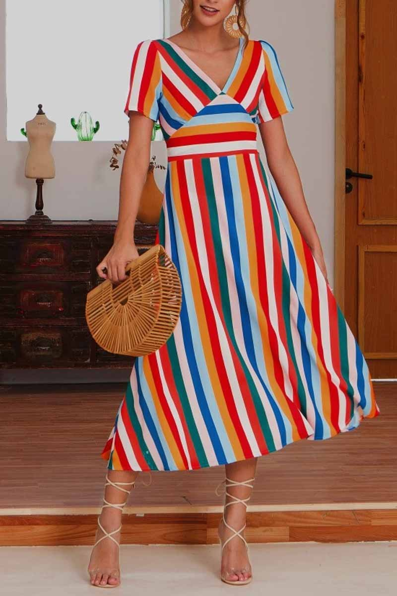 Lopolly V Neck Striped Women Love Midi Dress