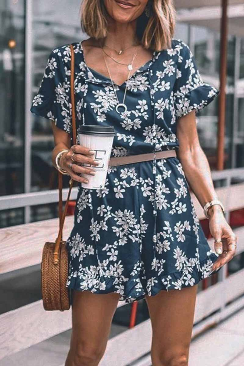 Lopolly Floral Printed Romper(Without Belt)