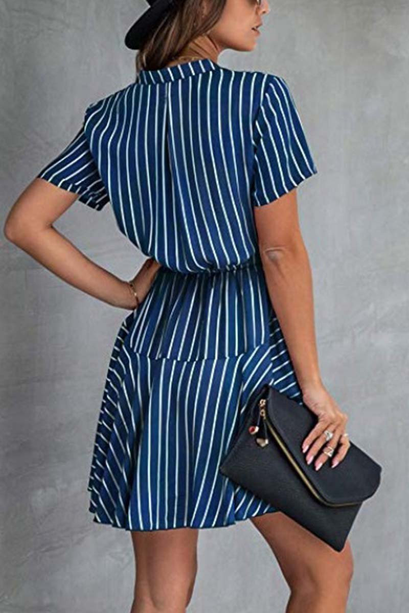 Lopolly Stripe Print Button Dress (2 Colors)
